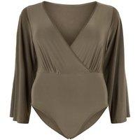 Just-Curvy-Khaki-Wrap-Flare-Sleeve-Bodysuit-New-Look