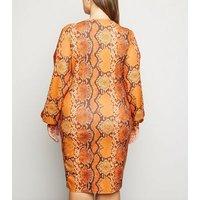 Just Curvy Orange Snake Print Wrap Dress New Look