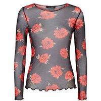 Black Mesh Rose Print Long Sleeve Top New Look