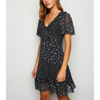 Cameo Rose Black Ditsy Floral Spot Frill Dress New Look