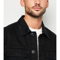 Black Utility Denim Jacket New Look