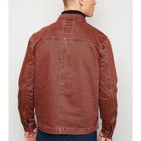Burgundy Utility Denim Jacket New Look