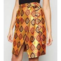 Nesavaali Orange Metallic Jacquard Mini Skirt New Look