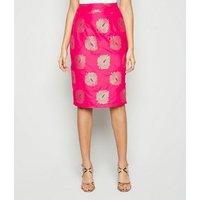 Nesavaali Bright Pink Leaf Metallic Jacquard Skirt New Look