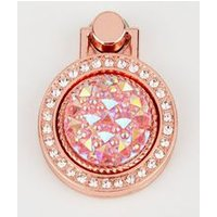 Rose Gold Diamante Gem Phone Ring New Look