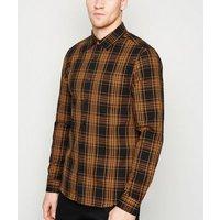 Men's Orange Check Long Sleeve Shirt New Look