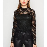 Black Lace High Neck Bodysuit New Look