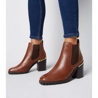 Tan Leather Brogue Chunky Heel Boots New Look
