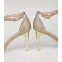 Gold Glitter 2 Part Stiletto Heels New Look Vegan