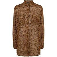 Brown Leopard Print Chiffon Shirt New Look
