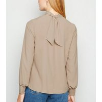 Stone High Neck Long Sleeve Blouse New Look