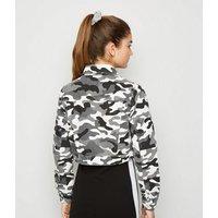 Girls Light Grey Camo Denim Jacket New Look