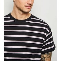 Dark Grey Stripe Oversized T-Shirt New Look