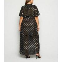 Curves Black Glitter Spot Wrap Maxi Dress New Look