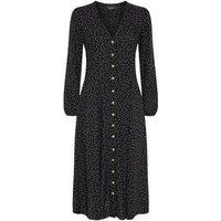 Petite Black Spot Print Long Sleeve Midi Dress New Look