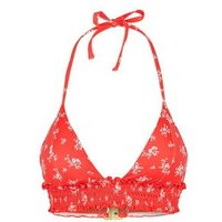 Red Ditsy Floral Shirred Longline Triangle Bikini Top New Look