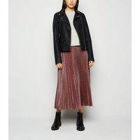 Burgundy Glitter Pleated Midi Skirt New Look