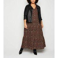Curves Black Floral Maxi Smock Dress New Look
