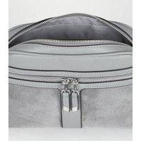 Grey Zip Camera Bag New Look Vegan
