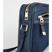 Navy Zip Camera Bag New Look Vegan
