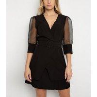 Gini London Black Organza Sleeve Mini Dress New Look