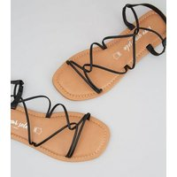 Black Leather Strappy Flat Sandals New Look