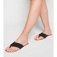 Wide Fit Black Leather Elastic Strap Flip Flops New Look