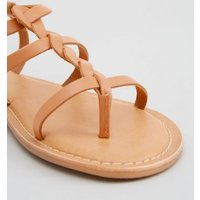 Wide Fit Tan Leather Plait Strap Sandals New Look