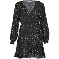 Gini London Black Heart Print Wrap Dress New Look