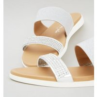 Silver Double Strap Diamante Footbed Sliders New Look