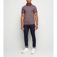 Burgundy Jacquard Tipped Polo Shirt New Look