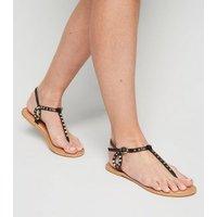 Black Leather Stud Flat Sandals New Look