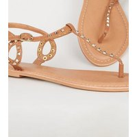 Tan Leather Stud Flat Sandals New Look