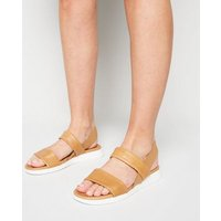 Tan Leather Double Strap Sandals New Look