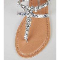 Silver Leather Metallic Diamante Sandals New Look