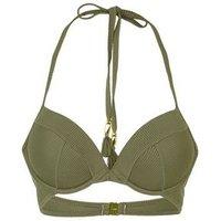 Khaki Ribbed Plunge Underwired Bikini Top New Look
