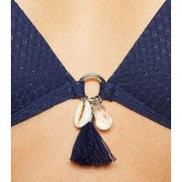 Navy Glitter Tassel Triangle Bikini Top New Look