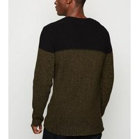Only & Sons Dark Brown Colour Block Jumper New Look