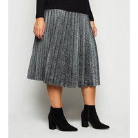 Curves Black Glitter Pleated Midi Skirt New Look
