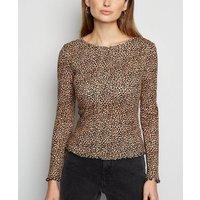 Brown Leopard Print Frill Long Sleeve T-Shirt New Look