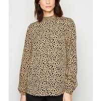 Tall Light Brown Animal Print Shirred Neck Top New Look
