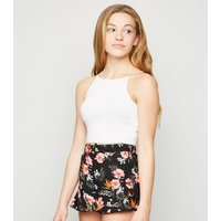 Girls Black Floral Frill Shorts New Look
