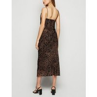 Brown Leopard Print Devore Midi Slip Dress New Look