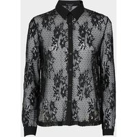 Black Fishnet Lace Shirt New Look