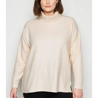 Curves Pale Pink Fine Knit Roll Neck Jumper New Look