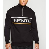 Black Zip Neck Infinite Slogan Jumper New Look