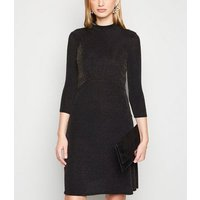 Tall Black Glitter Long Sleeve Dress New Look