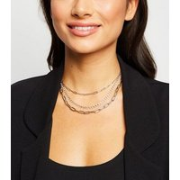 Silver Triple Chain Diamante Layered Necklace New Look