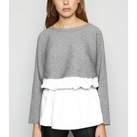 Pale Grey Crop 2 In 1 Batwing Jumper New Look