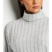 Pale Grey Wide Rib Knit Roll Neck Jumper New Look